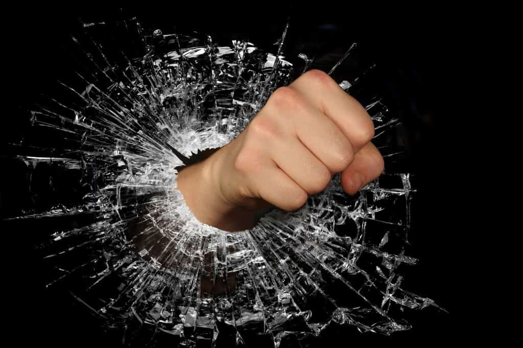 fist through glass